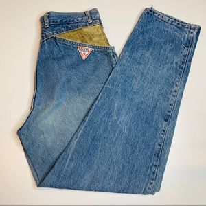 Vintage 1984 Guess Mom Jeans w/ leather accents